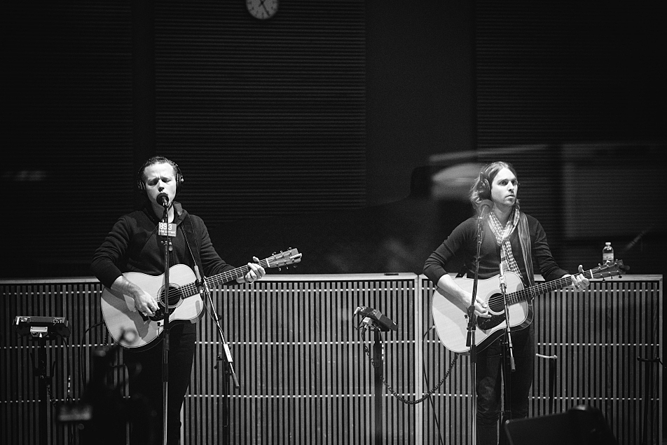 Jason Isbell (left) and Sadler Vaden performing in The Current studio.