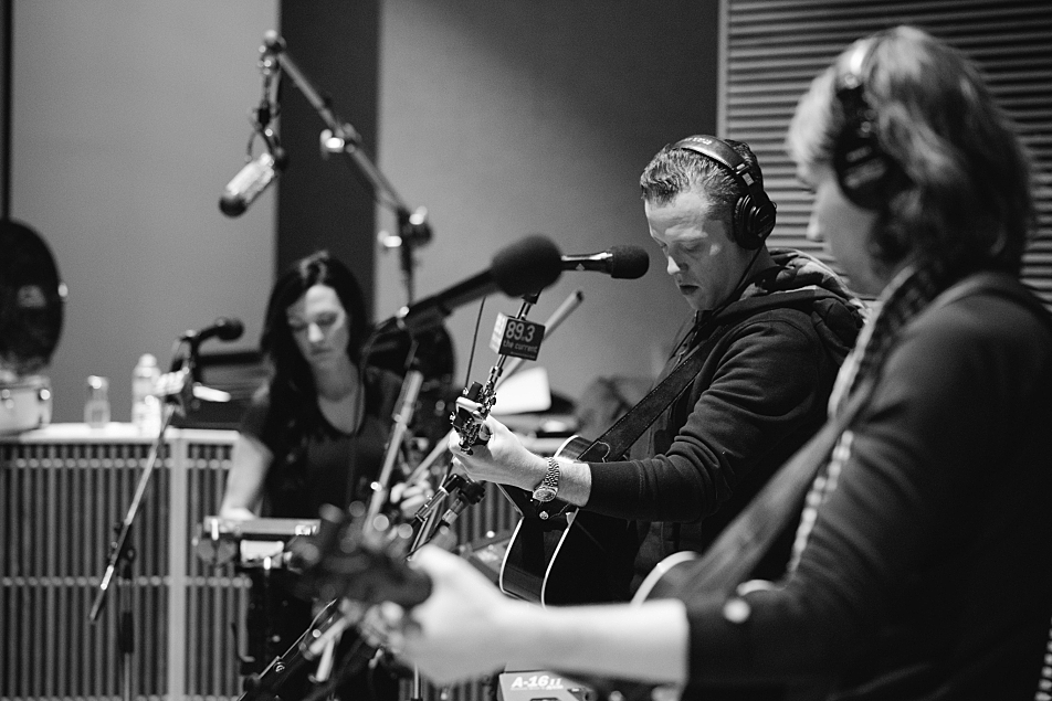 Jason Isbell (center) performs in The Current studio with Amanda Shires (left) and Sadler Vaden (right).
