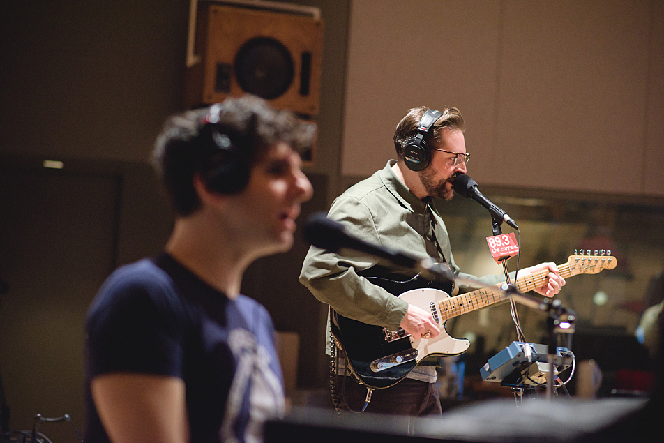 Adam Weiner (foreground) and Daniel Finnemore of Low Cut Connie performing in The Current studio.
