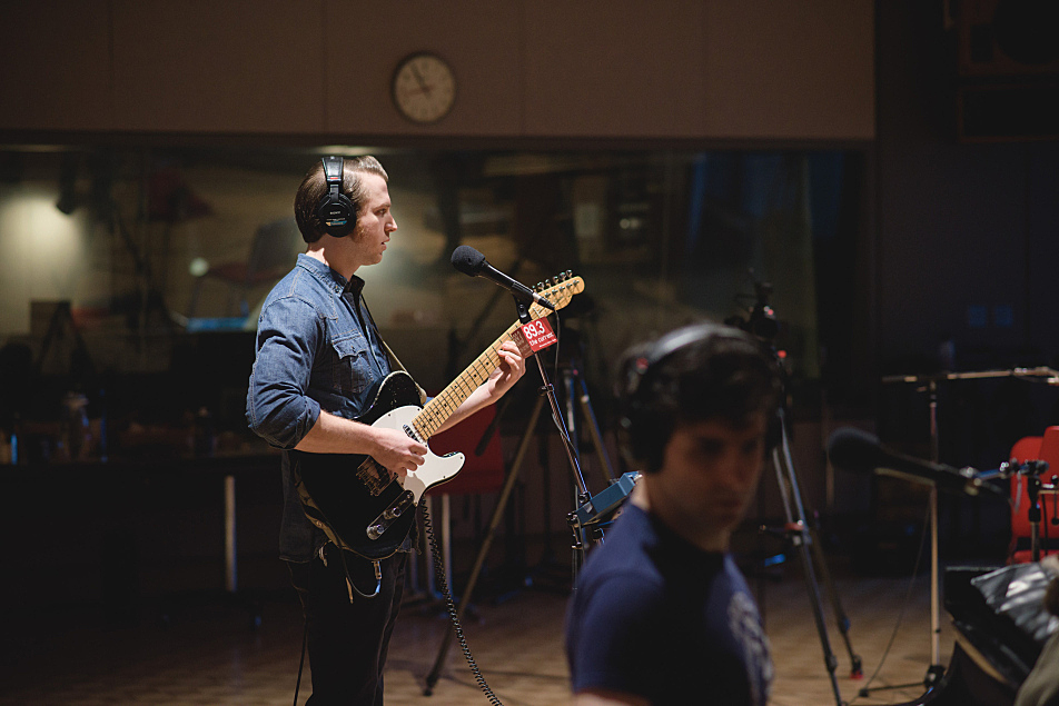 Low Cut Connie's Will Donnelly plays guitar in the Current's studio (several of the band's members play more than one instrument).