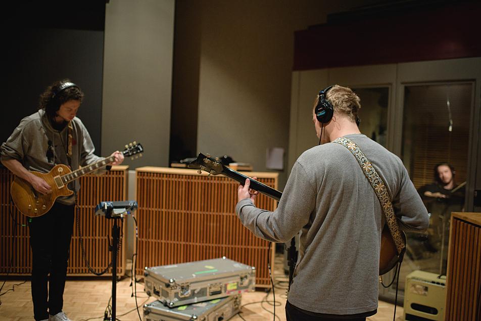 Kaleo's Rubin Pollock and bassist Danny Kristjansson. Drummer David Antonsson is at far right.