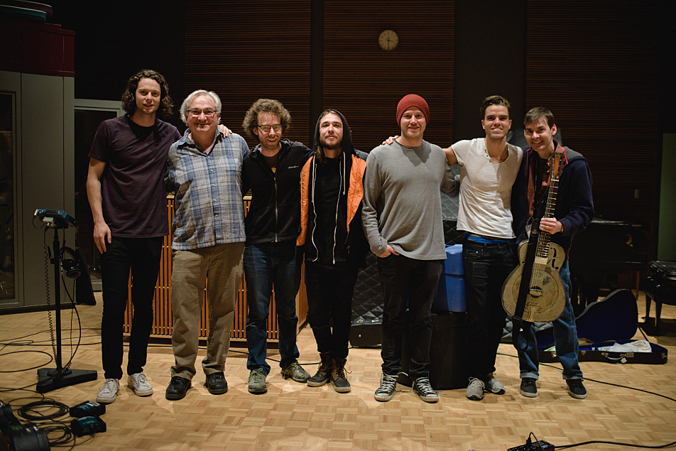 Members of Kaleo and their manager pose with The Current's staff members after the session.