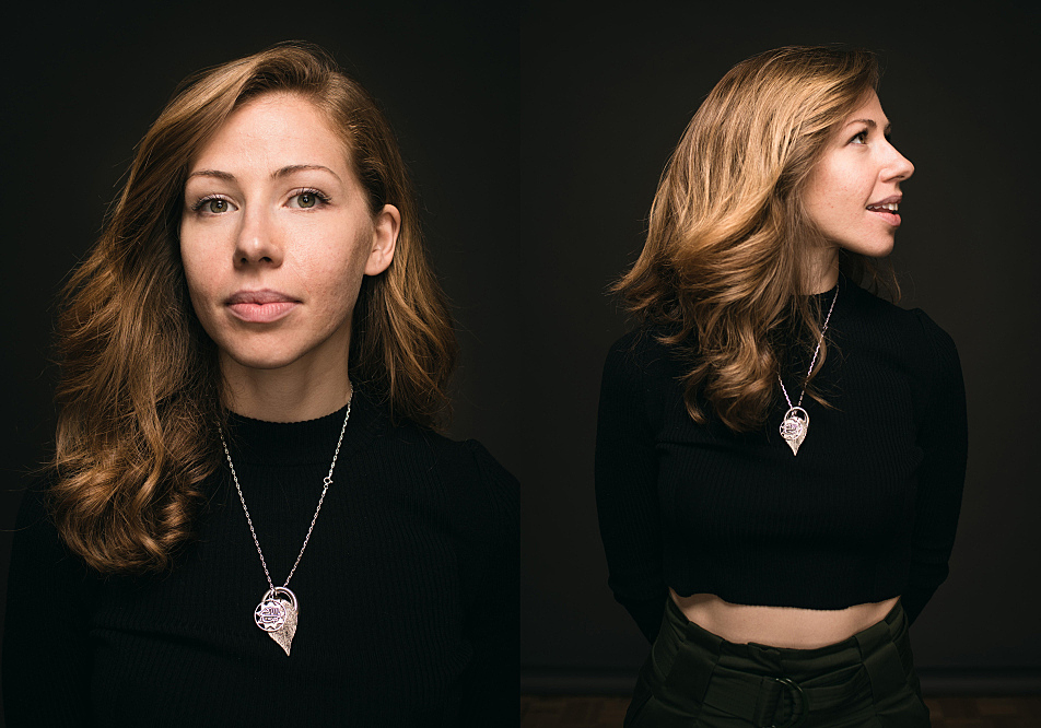 Portrait diptych of Lake Street Dive's Rachael Price.