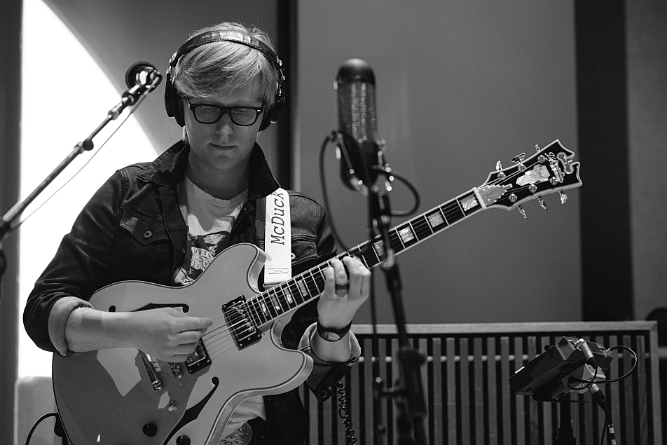 "Mike ""McDuck"" Olson of Lake Street Dive in The Current studio."