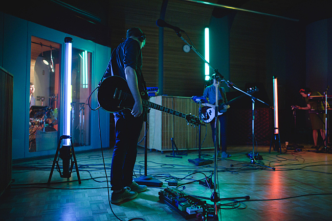 Shearwater soundchecking in The Current studio