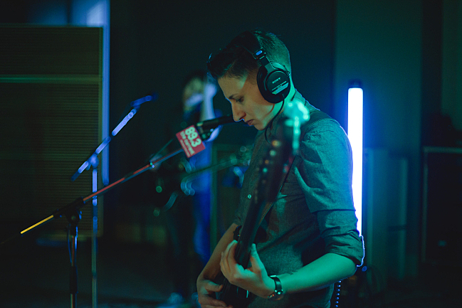 Bassit Sadie Powers performing with Shearwater live in The Currents studio