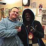 Sean McPherson and Flavor Flav in The Current's broadcast studio on Saturday, April 30, 2016.