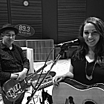 Karen Choi (right) and her producer and musical collaborator Matt Patrick, in the Radio Heartland studio.