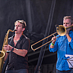 Matt Darling on trombone (right), playing alongside Nathaniel Rateliff and the Night Sweats saxophonist Andy Wild at Rock the Garden 2016.